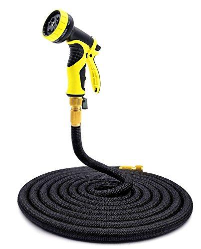 KINGTOP Garden Hose Pipe Expandable Magic Hose Stretch Hosepipe with 9 Function Spray Gun (Black, 100)