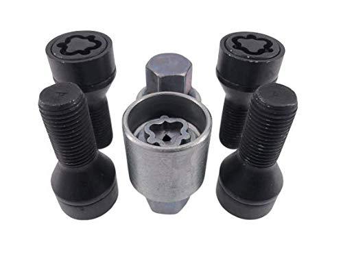 Felgenschloss Radsicherung Radschrauben 4 Stk. + 2 Schlüssel M14x1,5 Kegelbund 60° schwarz 30 mm