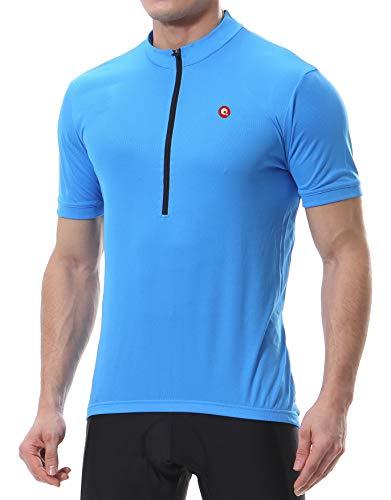 qualidyne - Maglia da ciclismo da uomo, traspirante, in jersey, per MTB, con gomma antiscivolo, giallo fluo, Uomo, Blu, M