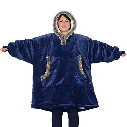SnugRug Eskimo Couverture à capuche surdimensionnée super-douce et chaude en tissu sherpa polaire Taille unique et unisexe - Bleu - taille unique