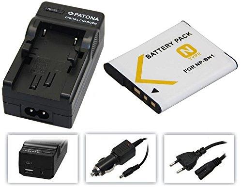 2in1-SET für die Sony CyberShot DSC-W830 / DSC-W810 - Akku kompatibel mit Sony NP-BN1 + 4in1 Ladegerät (für USB, microUSB, 220V und Auto) inkl. PATONA Displaypad