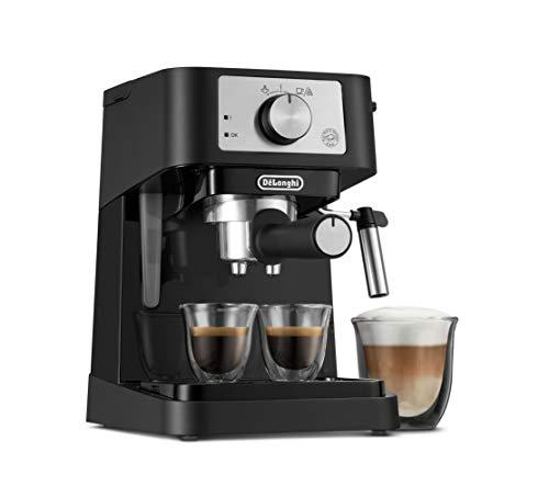 De'Longhi Stilosa Manual Espresso Machine, Latte & Cappuccino Maker, 15 Bar Pump Pressure + Manual Milk Frother Steam Wand, Black / Stainless, EC260BK