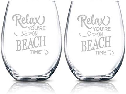 On Beach Time Wine Glasses Gift Beach Drinking Glasses Set Coastal Cottage Decor Wine Tumblers product image
