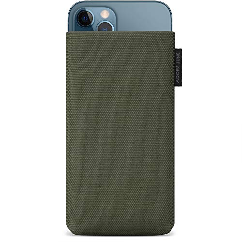 Adore June 6.1 Inch Protection Sleeve Classic Recycled Olive Green compatible with iPhone 12 Pro/iPhone 12, Modern Sustainable Nylon-Fabric. Made in Europe