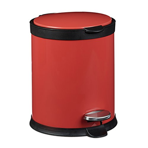 Preisvergleich Produktbild Relaxdays Treteimer 5 L aus Metall H x D: 27, 5 x 23 cm Abfalleimer in Edelstahl-Optik als Abfallbehälter mit Absenkautomatik Tretmülleimer für Küche und als Kosmetikeimer im Bad Tretmülleimer,  rot