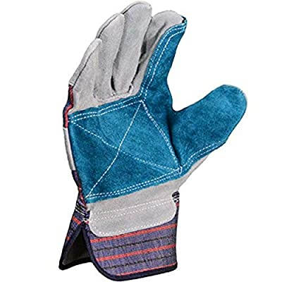 Azusa Safety S96112 Natural Leather Safety Work Gloves, X-Large, Natural/Blue Color (Pack of 96 Pairs)