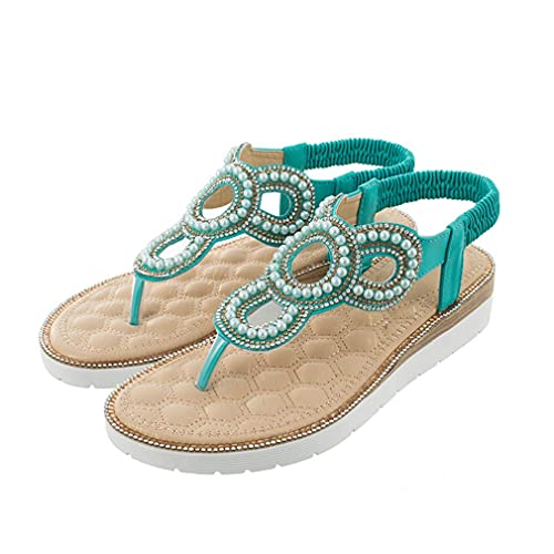 Sandalias De Estilo Bohemio De Verano para Mujer, Zapatos De Gran Tamaño con Fondo Plano Grueso Y Pizca Hueca para Mujer, Verde