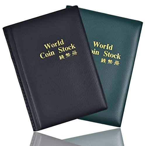 Mikihat 2 Pacchi Album della Collezione di Monete, Raccoglitore per Collezione di Monete, Album Libro per Collezionisti, 240 Tasche Porta Monete Collezionisti (Verde Scuro + Nero)