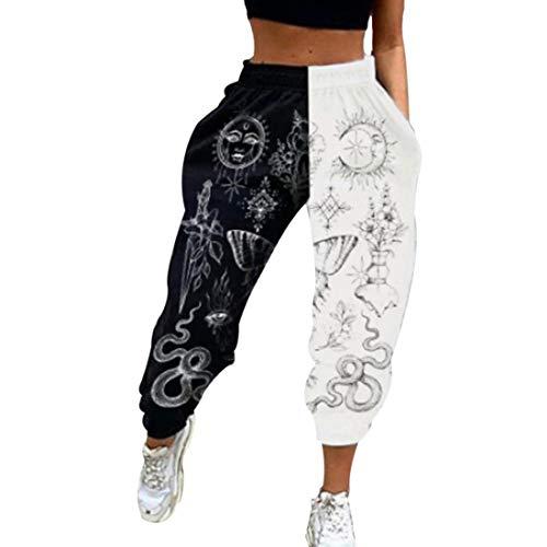 Shujin Damen Jogginghose Cargo Sporthose Farbblock Elastischer Bund Sweatpants Loose Fit Baggy Trainingshose Freizeithose Yogahosen mit Taschen(Sterne und Mond,S)
