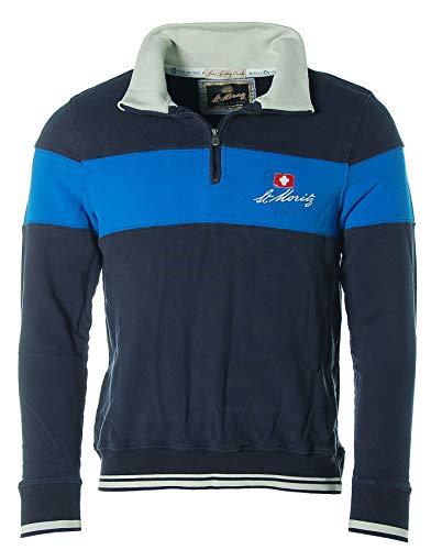 St. Moritz Herren Sweatshirt Shirt Sweater Pullover Troyer Stehkragen Marine M