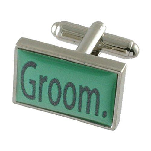 Le marié mariage vert menthe manchette Sterling Silver
