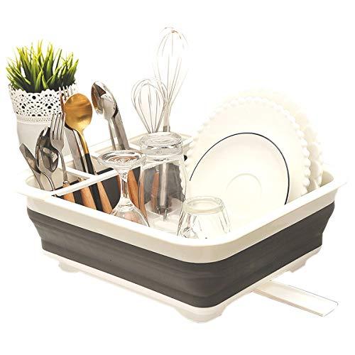 JEANGO Escurridor de Platos de plástico de Cocina, escurridor de Platos Plegable Multifuncional, Blanco