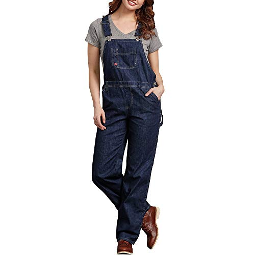 Dickies Women's Denim Bib Overall, Dark Indigo Black, Medium