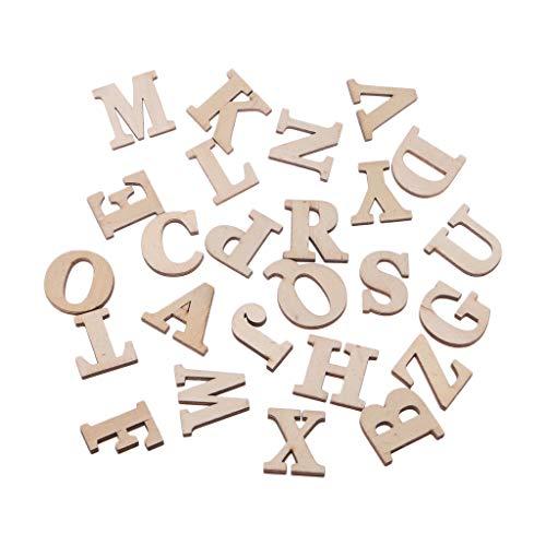 Queenhairs 1 Satz Holzbuchstaben Alphabet Zeichen Nummer Muster Holzform Dekorative Weiß Stehen