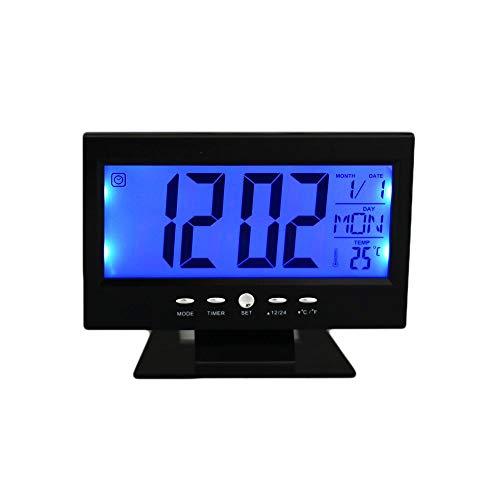 Relógio Digital Calendário Despertador Preto