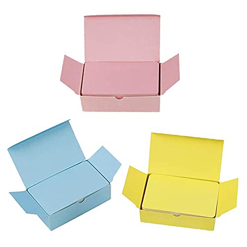 300PCS Tarjeta de Manualidades En Blanco, Tarjetas de Visita En Blanco Tarjetas de Kraft de Papel En Blanco para Diy Graffiti, Tarjetas de Mensaje de Color, Tarjeta de Mensaje (Amarillo/Rosa/Azul)