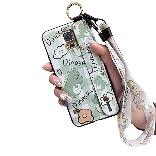 Shockproof Dirt-resistant Lulumi Phone Case Compatible with Samsung Galaxy S5 I9600, Cute Bumper Protective Flexible Designer Kickstand for Girls Soft Original, Green Dinosaur