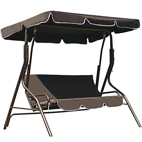Loywe Hollywoodschaukel Gartenschaukel Schaukelbank 3-Sitzer mit Dach Stahlgestell,Schwarz 170x115x156cm LW12S
