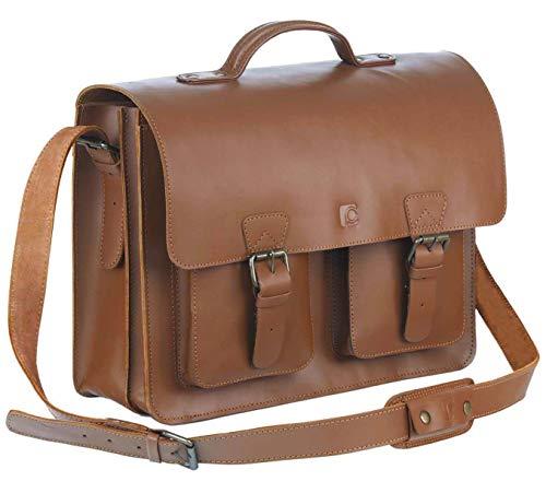 Schoolmaster classic in Cognac, stilvolle Lehrertasche & Aktentasche aus echtem Leder, viele Innenfächer, Umhängetasche für Damen & Herren, 40 x 32 x 18 cm, braun