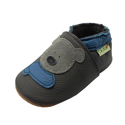 SAYOYO Weicher Leder Lauflernschuhe Krabbelschuhe Babyhausschuhe Kleinkind Lederschuhe Jungen und Mädchen(Grau,18-24 Monate)