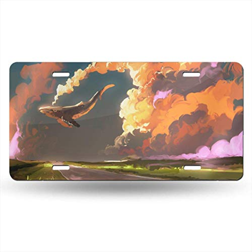 Cara King Download Cloud Sky Whale License Plate Car Auto Tag Aluminum Personalized Metal Sign for Car Decoration White