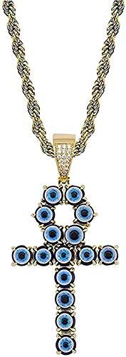 Collar Collar El más nuevo Iced Out Zircon Turquía Ojos azules Cruz colgante Cobre Egipcio Llave de la vida Colgante Collar Hip Hop Joyas para mujeres Hombres Regalos