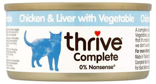 thrive Katze Complete - 100% Katzenvollnahrung Hühnchenbrust & Hühnchenleber mit Gemüse (12-er Pack)