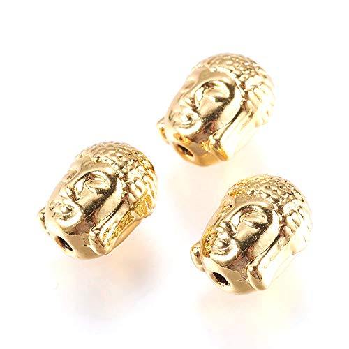 Craftdady 50Pcs 18K Gold Buddha Head Spacer Beads 11x9mm Metal Tiny Spiritual Loose Charm Beads for Jewelry Making Hole: 1.5mm