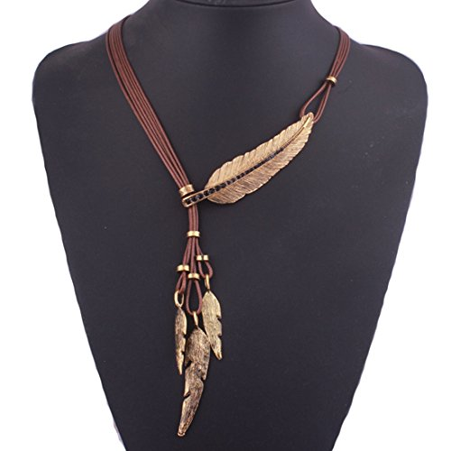 Tpocean Indian Large Leaf Pluma Charms Lariat Cuero Traje Aztec Bib Collar