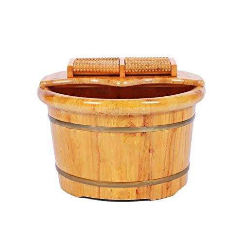 LYR FootSpa Bekken van hout, natuurlijke houten emmer voor sauna, verdikking van pediluvium van natuurhout, voetbad met massage