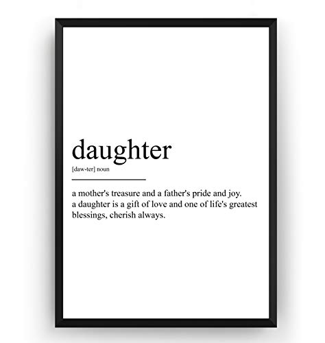 Daughter Definition Print - Poster Wall Art Quote Typography Home - Frame Not Included
