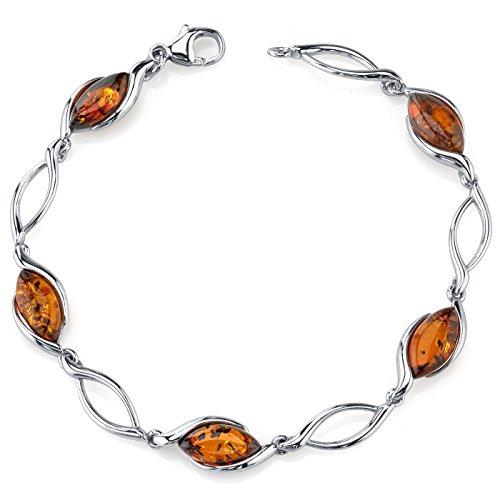 Baltic Amber Bracelet Sterling Silver Cognac Color Marquise Shape