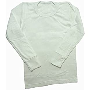 Boys Thermal Clothing Long Sleeved T Shirt Polyviscose Range (British Made) (Chest 30-32inch (Age 12-13)) (White)