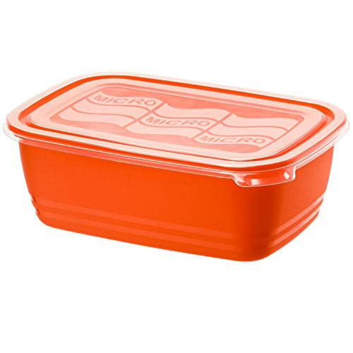 Rotho Eco Mikrowellendose 1,9l mit Deckel, Kunststoff (PP) BPA-frei, rot/transparent, 1,9l (23,4 x 16,2 x 8,1 cm)