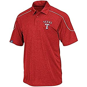 Majestic-Texas-Rangers-MLB-Mens-Run-Down-Synthetic-Polo-Shirt-Size-5XL-Red