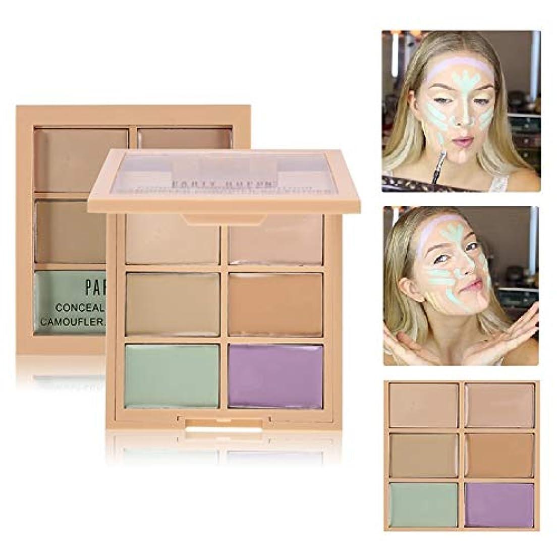 笑適応帳面6 Colors Correcting Concealer Palette Contouring Highlighter Bronzer Makeup Concealing Blemish Pores Cream Contour Kit 6色コンシーラーパレットコンターライティングハイライターブロンザーメイクコンシーラーブルームポアクリームコンターキット