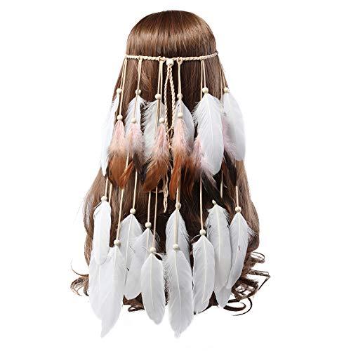 AWAYTR Bohemien Festival Stirnband Feder Kopfschmuck - Weiß Hippie Feder Kopfstück Indischer Kopfschmuck Boho Stirnband für Damen Mädchen Haarschmuck (Weiß + Beige)