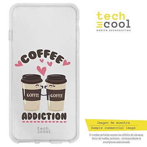 Funnytech® Siliconen Hoes voor LG G6 l Hoes, cover [High-Definition Printing] [Heldere Kleuren] Frase Koffie verslaving transparant.
