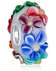 Bling Jewelry Flower Multi Color 3D Lampwork Murano Glass Sterling Silver Spacer Bead Fits European Charm Bracelet For Women For Teen