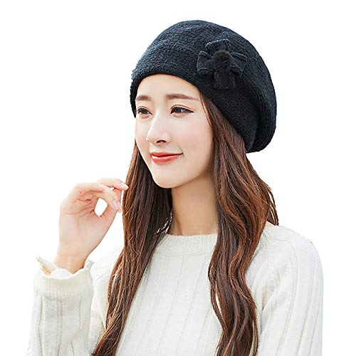 Femme Chapeau Beret Vintage Laine Mignon À La Mode Chic Bonnets Crochet en Tricot Hiver Chaud Fashion Hat (Taille Unique, Noir)