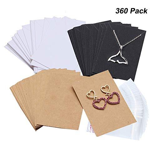 Amajoy 360 Piezas Collar Pendientes Exhibidor Tarjetas con 360 Piezas Autocierre Bolsas para Stud Pendientes Colgantes Pendientes Collar Pendientes Cadena 3 Colores, Marrón Blanco Negro