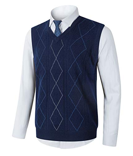 Homovater Mens Casual V-Neck Sweater Vest Sleeveless Knitwear Argyle Knitted Tank Top Pullover Navy Blue