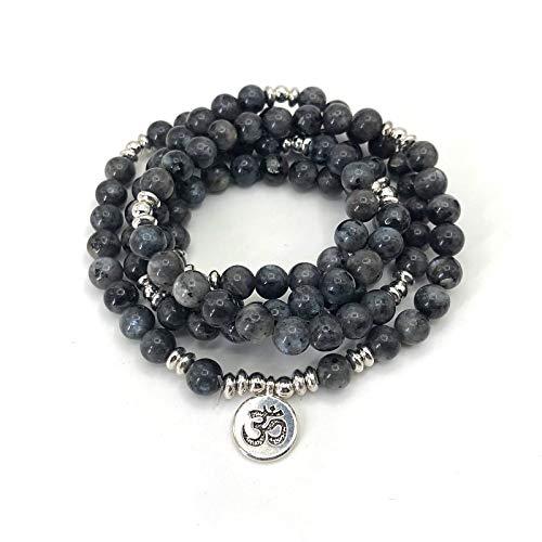 Mujeres Pulsera Mate Esmerilado Amazonita Perlas con Lotus Om Buda Encanto Pulsera De Yoga 108 Mala Collar
