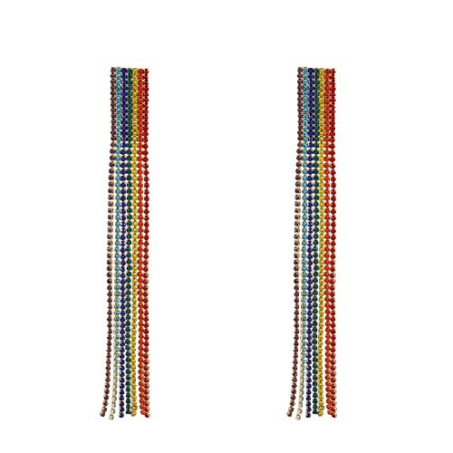 Dames oorbellen flash diamanten regenboog slingers overdreven mode persoonlijkheid kwast oorbellen rode oorbellen