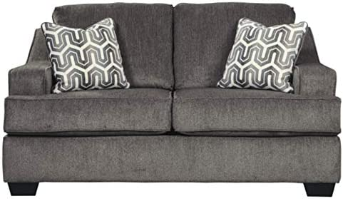 Best Signature Design by Ashley - Gilmer Contemporary Chenille Upholstered Loveseat w/ 2 Accent Pillows,