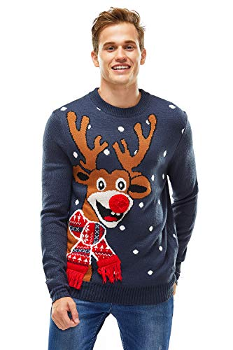 Women`s Ugly Christmas Sweater, Novelty Funny Xmas Jumper with Santa Reindeer Snowflake,Chunky Unisex Festive...