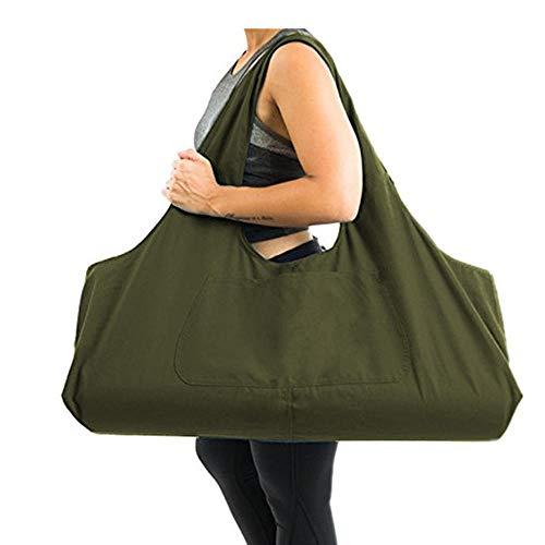 Zip Bolsa de colchoneta de yoga Grande, Bolsa de asa de yoga Aolvo con correa, Bolsa de lona de algodón 2 Bolsillos adicionales para 2 Estera de yoga, 2 toallas, Llave, Verde militar