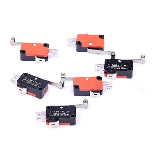 Cylewet 6Pcs V-156-1C25 Micro Limit Switch Long Hinge Roller Momentary SPDT Snap Action for Arduino (Pack of 6) CYT1046