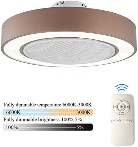 LED Plafondventilator Met Verlichting En Afstandsbediening Stille Fan Plafondlamp Dimbaar Met Afstandsbediening 3 Standen Verstelbaar Moderne Slaapkamer Onzichtbare Kinderkamer Ventilator,Brown