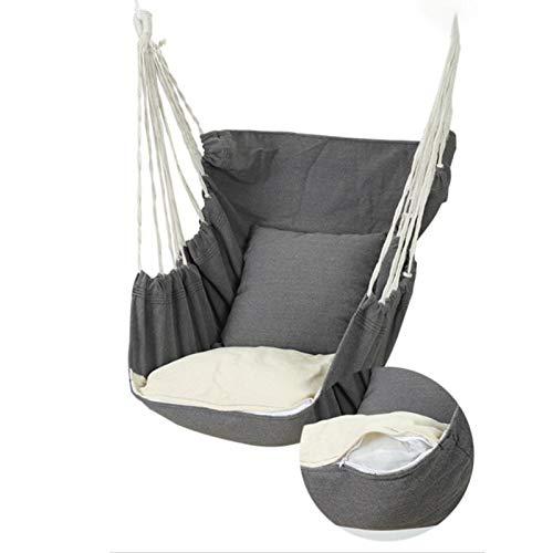 Hamaca colgante de 130 x 100 cm, cómoda y duradera, de algodón, con cojín, elegante cuerda colgante, para interior y exterior, balcón, dormitorio, patio, hasta 200 kg